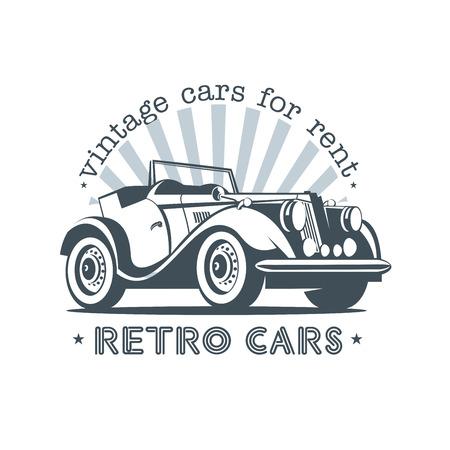 Przenośny samochód retro. Vintage samochody do wynajęcia. Logo wektorowe.
