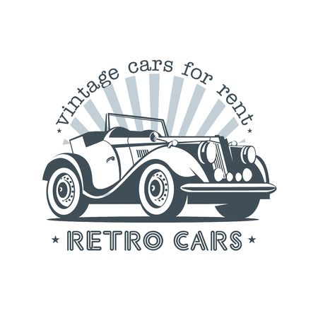 Retro car convertible. Vintage cars for rent. Vector logo. Ilustracja