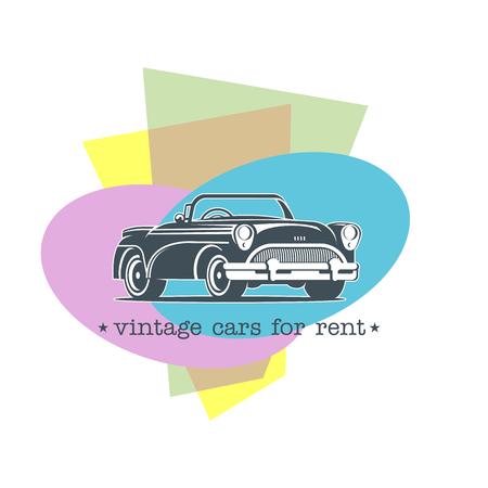 Retro samochód. Wynajem samochodów zabytkowych. Vector monochromatycznych logo na kolorowym tle. Logo dla sklepu samochodowego, wynajem samochodów.