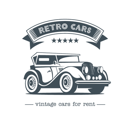 Retro car Vintage car vector logo. Vintage cars for rent. Isolated on a white background. Ilustracja