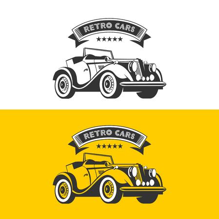 Rental of vintage cars. Vector logo. Vintage car convertible.