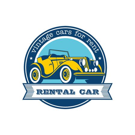 Rental of vintage cars. Vector logo. Yellow vintage convertible. Isolated on a white background. Ilustracja