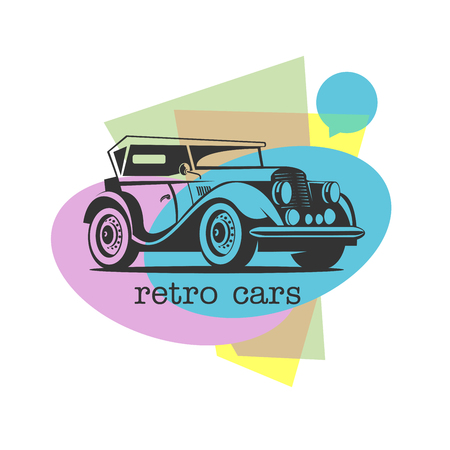 Retro car. Vector logo on colorful background. Illusztráció