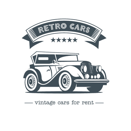 garage: Retro car. Vintage car vector logo. Vintage cars for rent. Isolated on a white background.