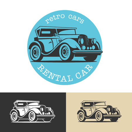 Retro car. Vintage cars for rent. Vector logo. Isolated on a white background. Ilustracja