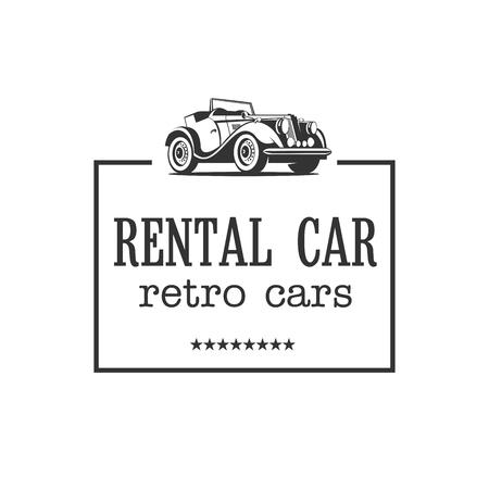 Retro car. Vintage cars for rent. Vector logo. Ilustracja