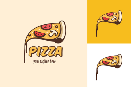 Pizza. Vector logo. A slice of pizza with molten cheese.