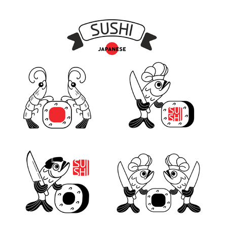 nori: Set of logos of sushi with shrimp and fish. Shrimp, fish and sushi. Vector illustration, sign, emblem. Isolated on a light background. Logo for a Japanese restaurant.