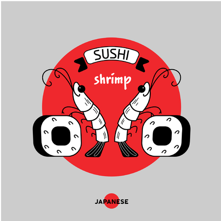 nori: Logo shrimp sushi. Shrimp and sushi. Vector illustration, sign, emblem. Isolated on a light background. Logo for a Japanese restaurant. Illustration