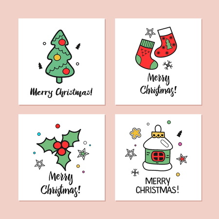a set of christmas cards drawn by hand happy new year merry christmas