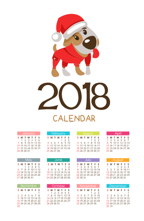 The calendar for the new 2018. Symbol of the year of the dog. Funny dog Jack Russell Terrier.