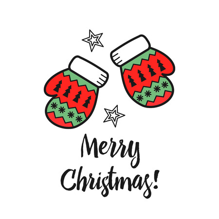 Christmas illustration hand drawn. Multi colored Mittens. The inscription merry Christmas!