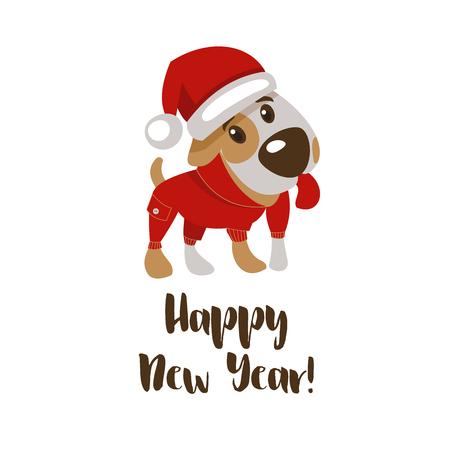 Gelukkig nieuwjaar en vrolijk kerstfeest! Groetkaart met grappig hondkarakter 2018. Stock Illustratie