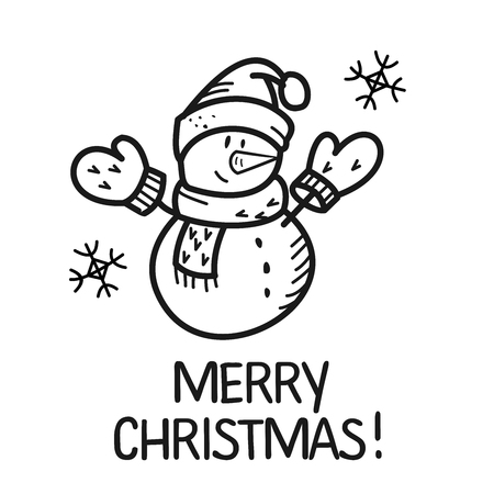 Christmas illustration hand drawn. Snowman in mittens and cap.