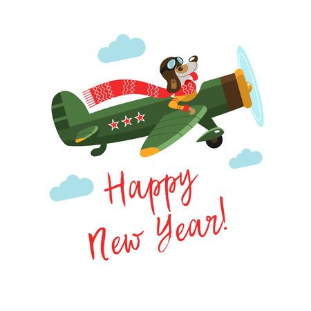 Happy New Year! Cheerful vector illustration. A fun dog character 2018 flying on the plane.