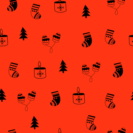 Christmas vector seamless pattern. Hand drawn Christmas clipart.
