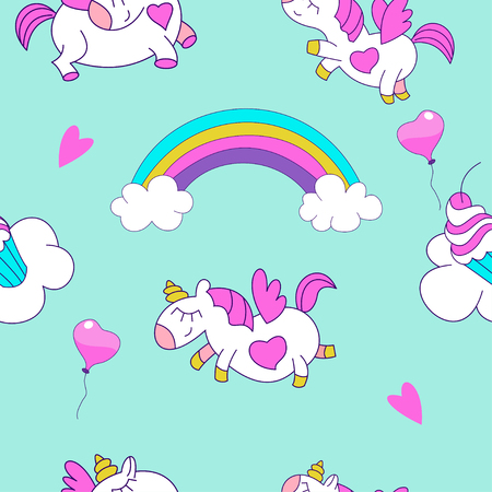 Seamless pattern with cute magical unicorns. Vector illustration. Unicorns, rainbows, clouds, magic wand. Beautiful patterns for print on textile, wrapping paper