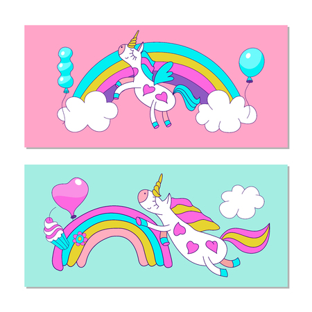 Cute magical unicorns. Vector illustration. For the decoration of children's parties, greeting cards, textiles. Vectores