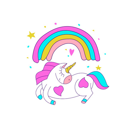 Cute magical unicorns. Vector illustration. For the decoration of children's parties, greeting cards, textiles. Illustration