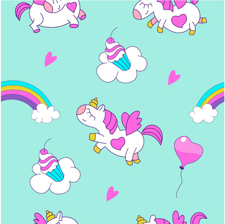 Magical unicorns. Seamless pattern. Suitable for printing on textile, wrapping paper. Cute design for a childrens party. 일러스트