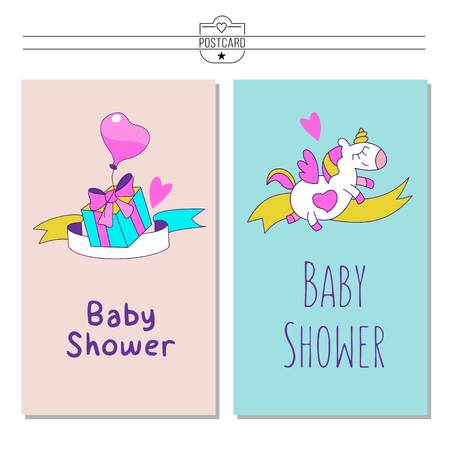 Magical unicorns. Cute design for baby shower. Little unicorns. For registration of a children's party, baby shower parties, postcards, banners, textiles. Vectores