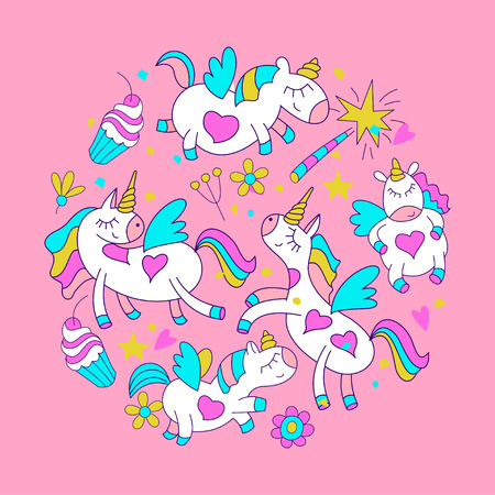 Magical unicorns. Cute design for baby shower. Little unicorns. For registration of a childrens party, baby shower parties, postcards, banners, textiles.