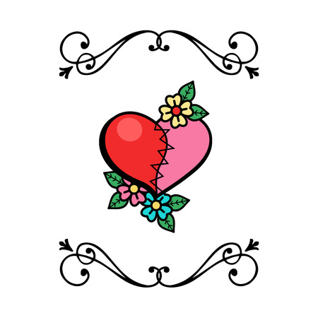 Vector vintage postcard of love. For Valentines day. Heart stitched from two halves.