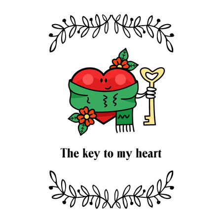 Vector vintage postcards about love. On Valentines Day. The heart holds the Golden key. The key to my heart. Çizim