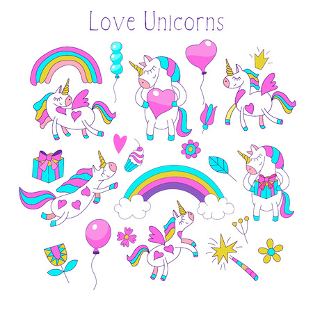 Big set of vector clipart on the theme of Love. Unicorns, heart, balloons, rainbow, flowers, a magic wand, a cake. For design postcards, print on textile, mugs, phones, t-shirts. Illustration