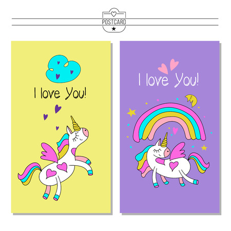 Greeting Card Happy Valentine S Day Unicorn And Rainbow Vector