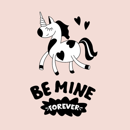 Greeting card happy Valentines Day. Cute magical unicorn, Pegasus. Hand drawn design. Be my forever.