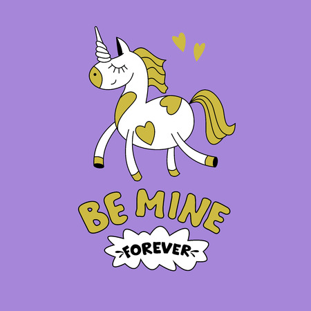 Greeting card happy Valentine's Day. Cute magical unicorn, Pegasus. Hand drawn design. Be my forever. Illustration
