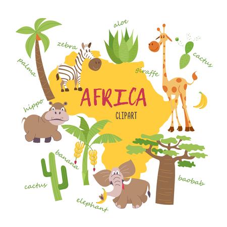 아프리카 클립 아트입니다. 지도에 아프리카의 자연과 동물. 기린, 얼룩말, 야자수, 바나나, 알로에, 선인장, 바오밥, 코끼리, 하마. 모든 클립 아트는