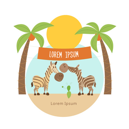 Under the palms there are two striped zebras. the African animals. Vector illustration  isolated on a white background.
