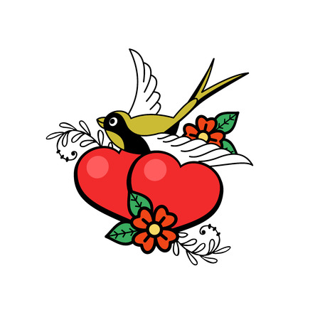 A symbol of love. Two lovers hearts and a bird. Vector illustration. Isolated on a white background. Happy Valentines day.