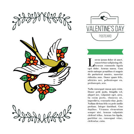 A symbol of love. A bird in the hand. Vector illustration in retro style. Isolated on white background. There is a place for your text. On Valentine's Day.