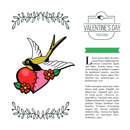 A symbol of love. Heart of two halves and a bird. Vector illustration in retro style. Isolated on white background. There is a place for your text. On Valentine's Day.