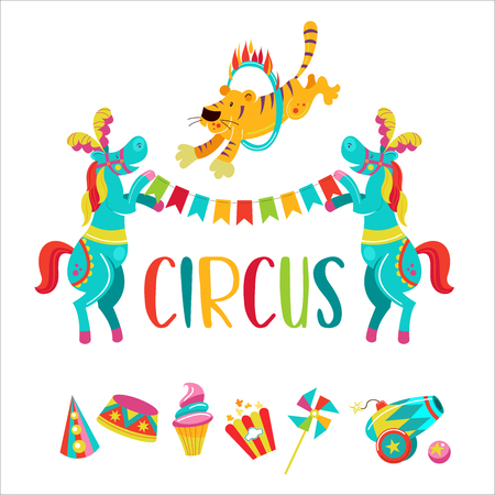 Circus. Vector illustration. Isolated on a white background. Two trained horses with feathers on their heads holding a garland of flags. Tiger jumping through the flaming ring. Set of cliparts.