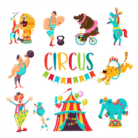 Circus. Big set of vector cliparts. Isolated on white background. Tent, clown, strong man with weights, bear on bike, horse, elephant on dresser, tiger jumping through a ring of fire, the lion tamer and the lion.