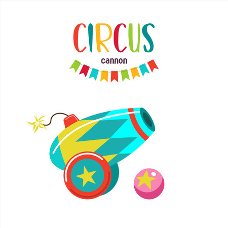 Circus cannon. Vector illustration isolated on white background.