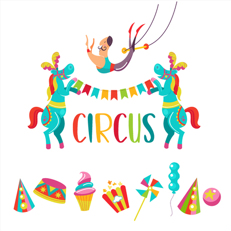 Circus. Vector illustration. Two trained horses holding a garland of flags. Aerial acrobat. Set of cliparts. Popcorn, cap, candy, balloon, ice cream.