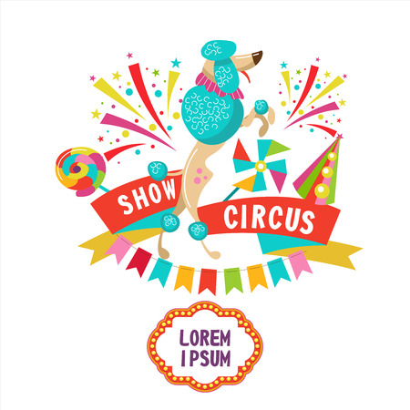 Circus. Vector illustration. A trained poodle. Composition of cliparts. With place for text. Isolated on a white background. Illusztráció
