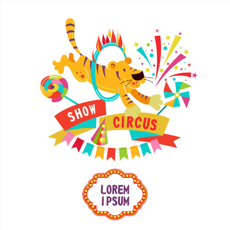 Circus. Vector illustration. Circus tiger jumping through a ring of fire. Composition of cliparts. With place for text. Isolated on a white background. Illustration