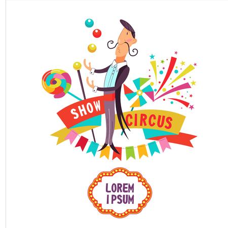 Zirkus. Ein Zirkusjongleur. Vektor-illustration Das Plakat des Zirkus. Zusammensetzung der Cliparts. Mit Platz für Text. Isoliert auf weißem hintergrund