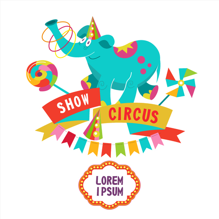 Circus. Circus trained elephant on a pedestal juggling hoops. Vector illustration. The poster of the circus. Composition of cliparts. With place for text. Isolated on a white background.