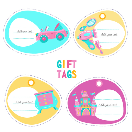 A set of tags. The labels of toys for girls. Pink convertible, a fairytale castle, a toy chest of drawers, Hairdryer, mirror, hairbrush.
