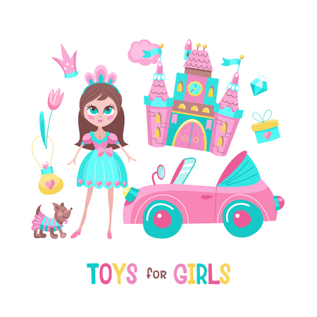 Toys for girls. Vector clipart. Pink toy convertible. Cute little dog in costume. Beautiful girl doll. Fabulous pink castle. Crown for the Princess. Isolated on a white background. Stock Illustratie