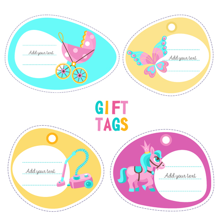 A set of tags, labels with place for text. Toys for girls. Lovely horse, stroller, beautiful butterfly, a toy cleaner for a small hostess. Isolated on a white background.