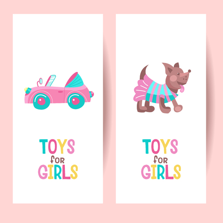 Toys for girls. Vector clipart. Pink toy convertible. Cute little dog in costume. Isolated on a white background.