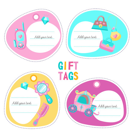 Tags, labels with place for text. The carriage for the Princess. Toy smartphone accessories for girls. Handbag, mirror, comb. Vector clipart. Illustration
